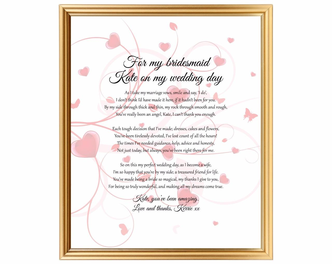 Gift For Best Friend On Wedding Day: Thank You For Being My Bridesmaid