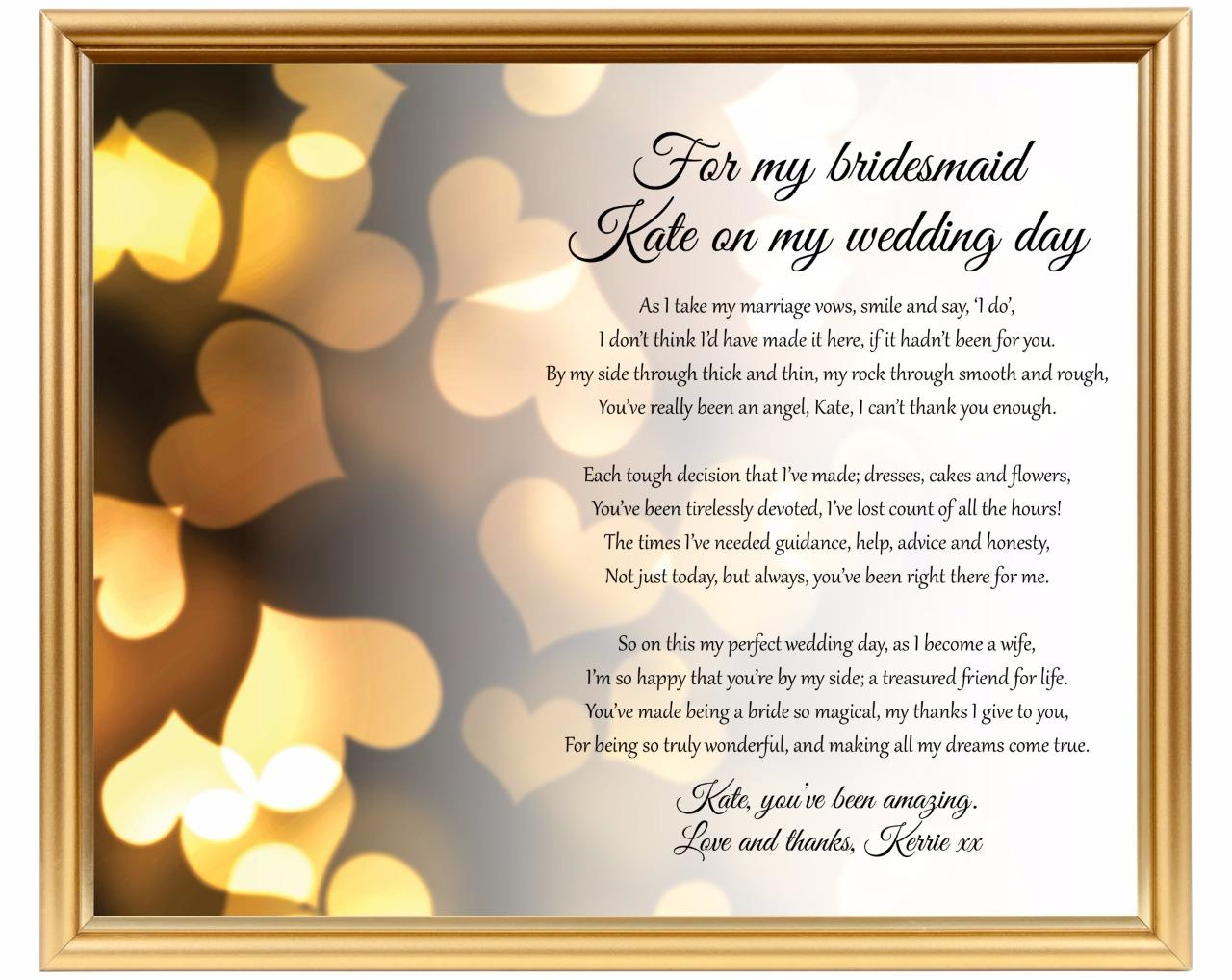 Bridesmaid Gift To Bride On Wedding Day: Thank You For Being My Bridesmaid