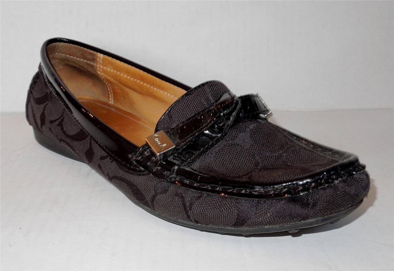 COACH Frida Signature Jacquard Patent Flat Loafer ~ Size 6 ...