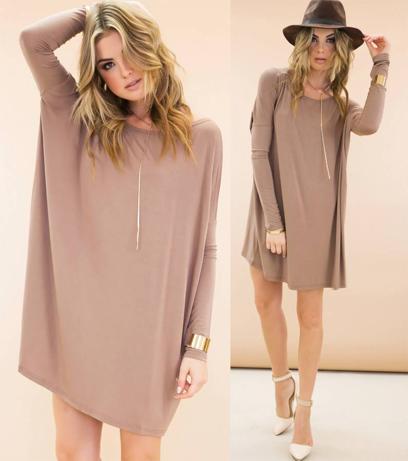 0019d9c1f183 Authentic Piko Bamboo Taupe Long Sleeve Scoop Neck Tunic Tee Shirt ...