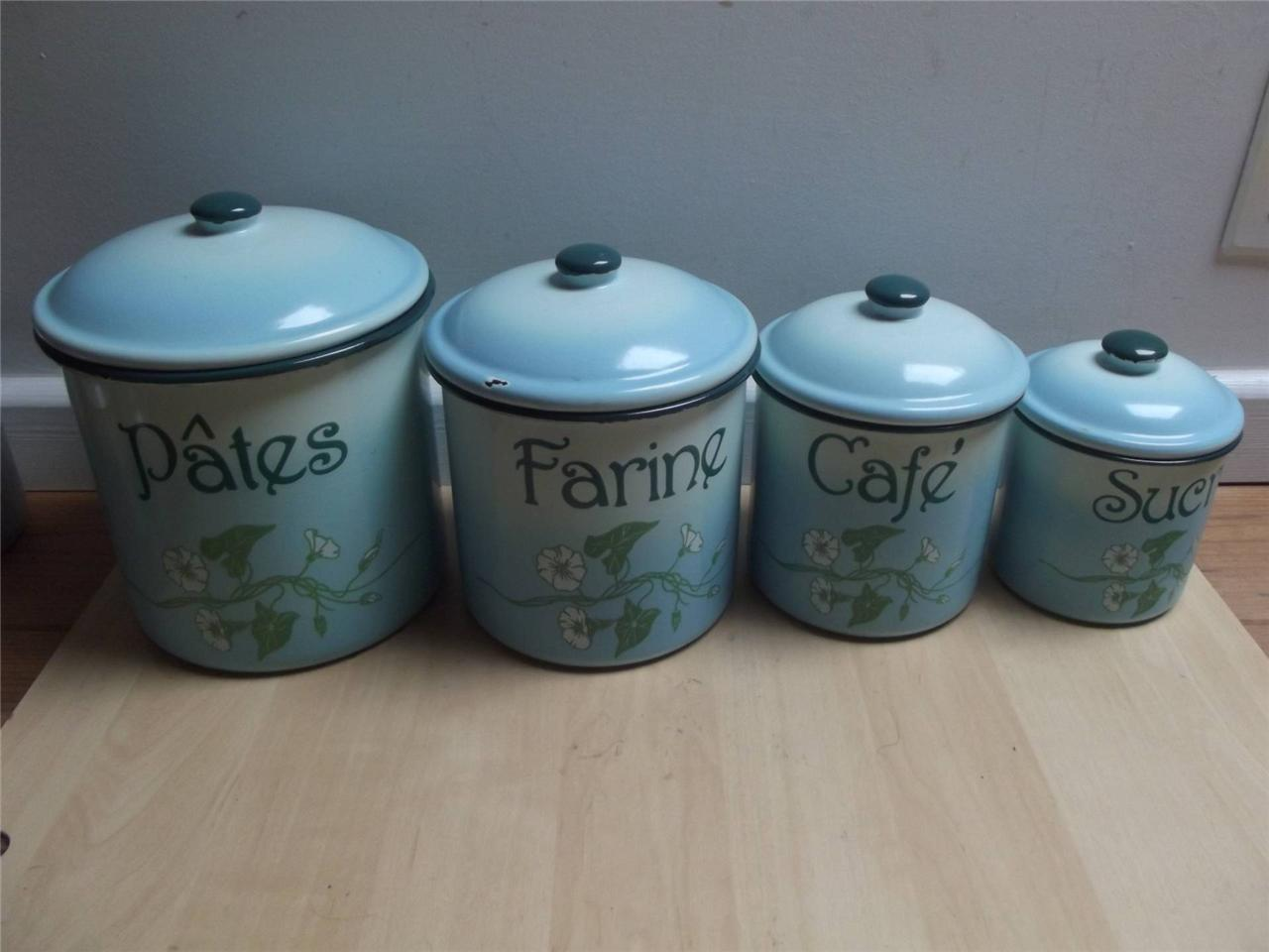 large kitchen canisters 4 extra large graduated french enamel metal kitchen storage containers canisters ebay 3901
