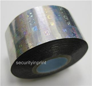 """Holographic Silver Security Hot Foil /""""GENUINE ORIGINAL/"""" Tape 30mm wide 1m Long"""