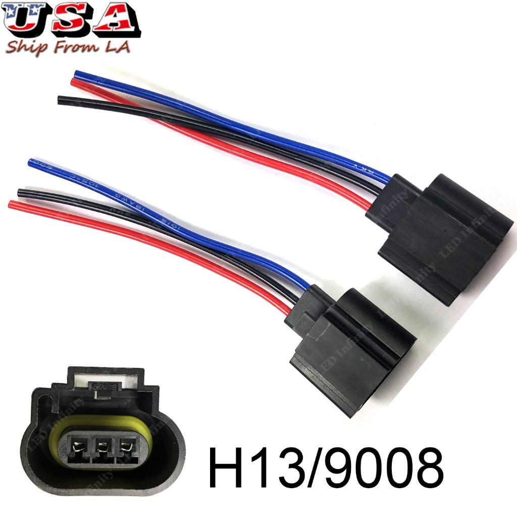 H13 9008 Wiring Harness Female Pigtail Halogen LED Headlight Socket Truck  Refit | eBayeBay