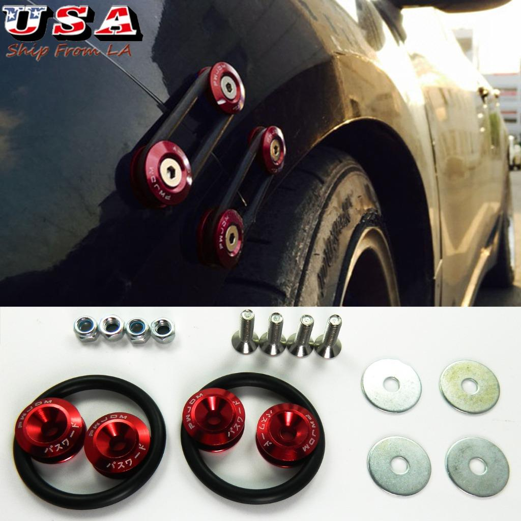 JDM RED Car Bumpers Trunk Fender Hatch Lids Quick Release Fasteners Kits