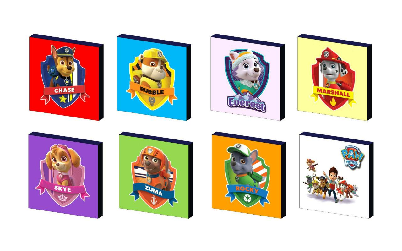 Bathroom Set Paw Patrol Characters Art Blocks Wall Plaques Pictures