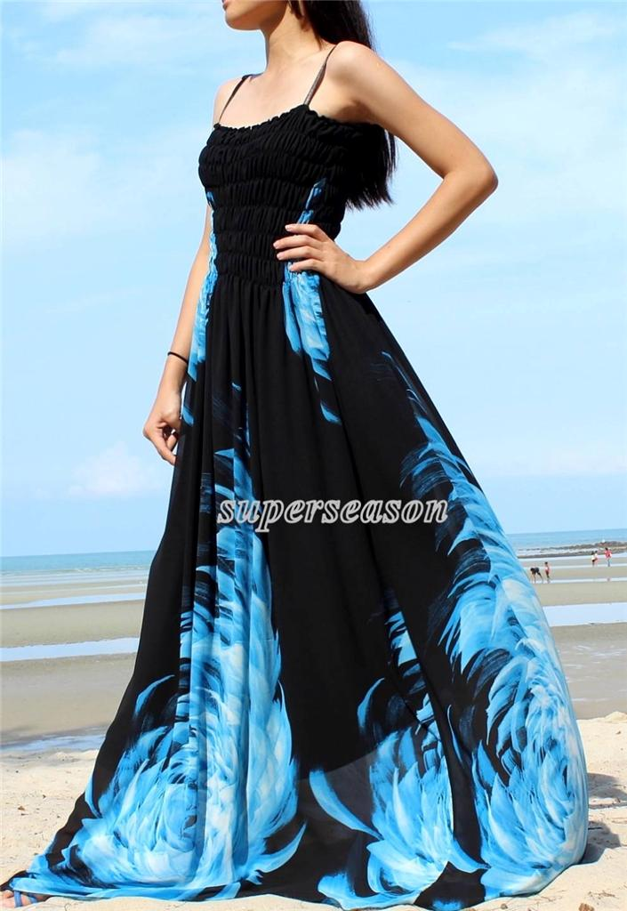 Plus Size Dress Prom Wedding Summer Gown Party Maxi Black