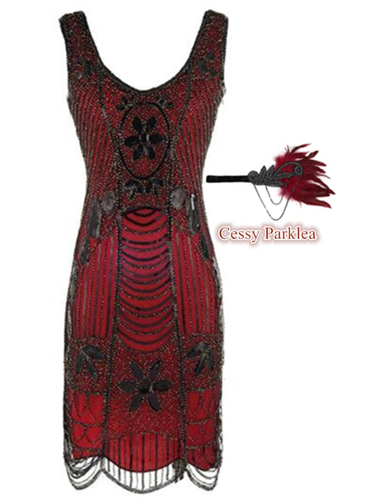Deluxe Gatsby Ladies 1920s Roaring Party Flapper Costume Sequins Outfit Red 6-16