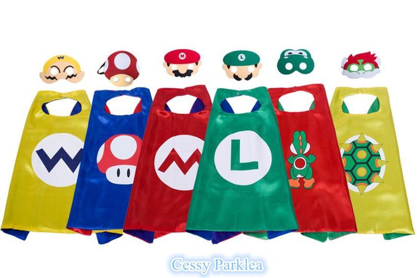 Kids Supermario Mario Luigi Yoshi Cape Mask Superhero Costume Accessories
