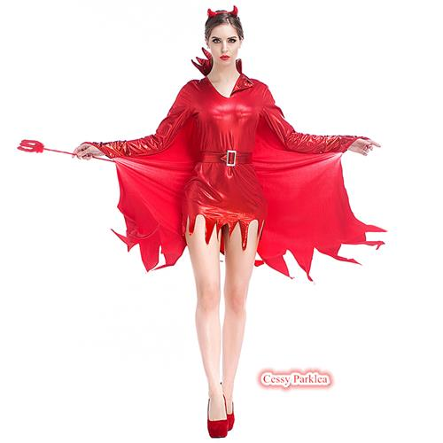 Horns Ladies Red Devil Mistress Metallic Costume Halloween Fancy Dress Outfit