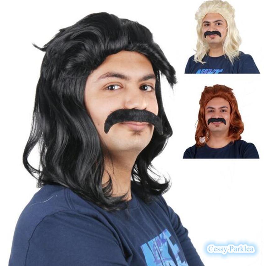 Black// blonde Mullet wig 70s 80s Party Costume Rock Bogan