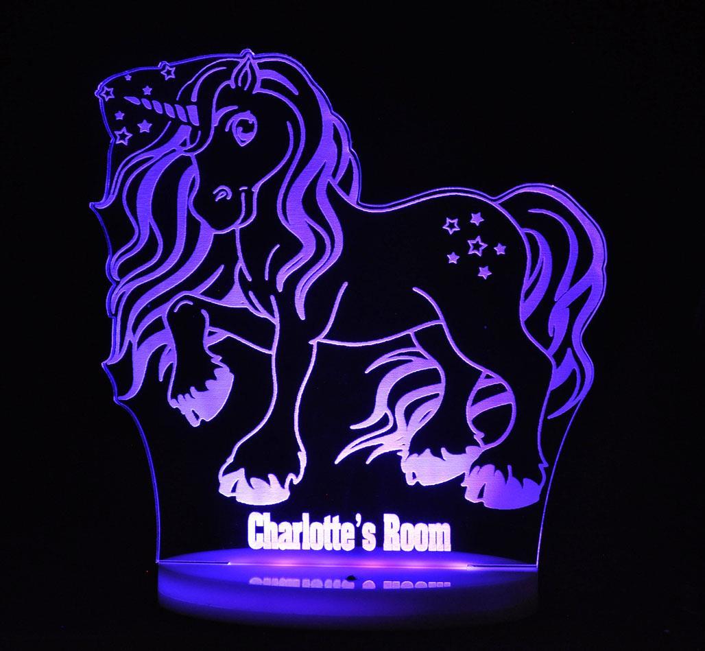 UNICORN PONY PERSONALISE NAME LED NIGHT LIGHT LAMP 13 ...