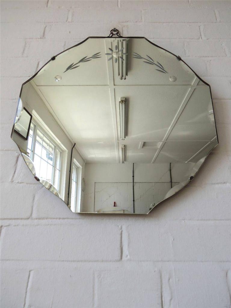 Vintage Round Bevelled Edge Wall Mirror Art Deco Bevel