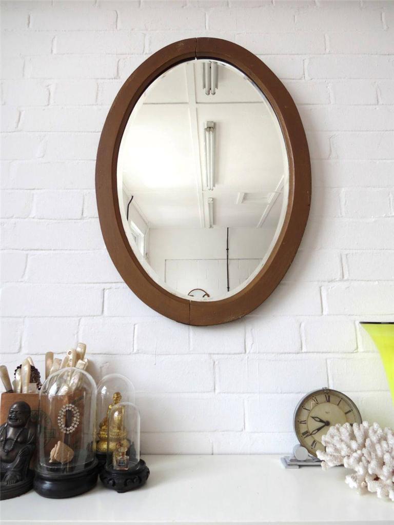 Vintage Oval Beveled Edge Mirror Ebay