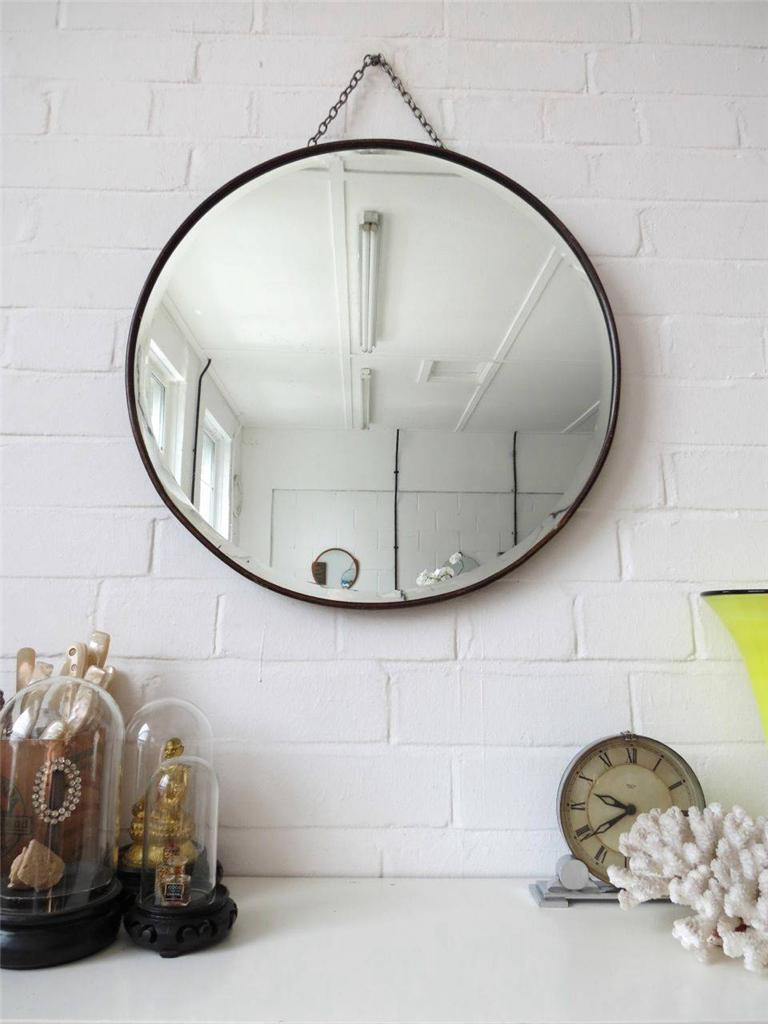 Vintage Extra Large Round Bevelled Edge Wall Mirror With