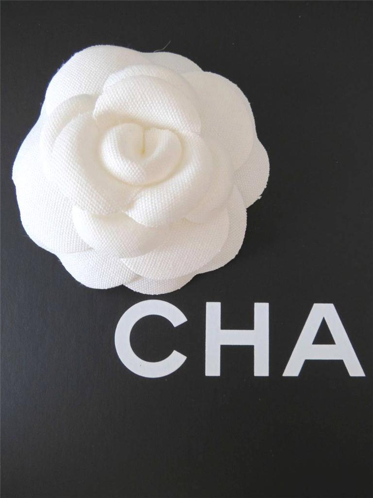 Authentic Chanel Large Cream Fabric Camellia Flower for ...