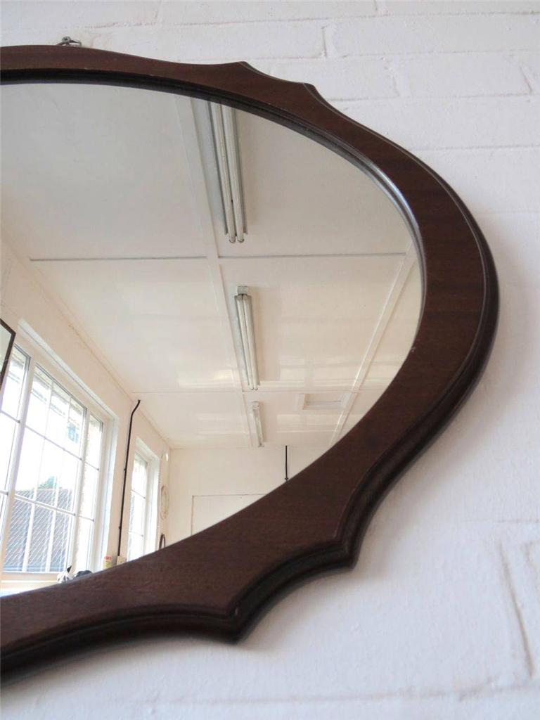 Vintage Large Oval Wall Mirror With Large Wooden Art Deco