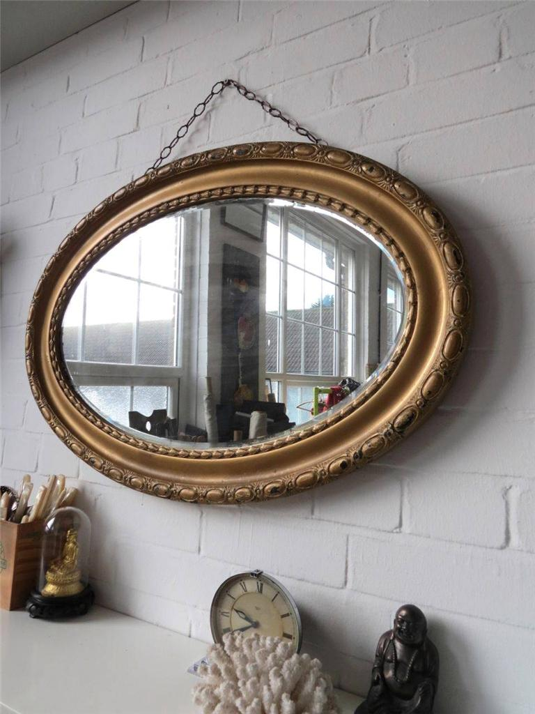 Vintage Extra Large Oval Bevelled Edge Wall Mirror With