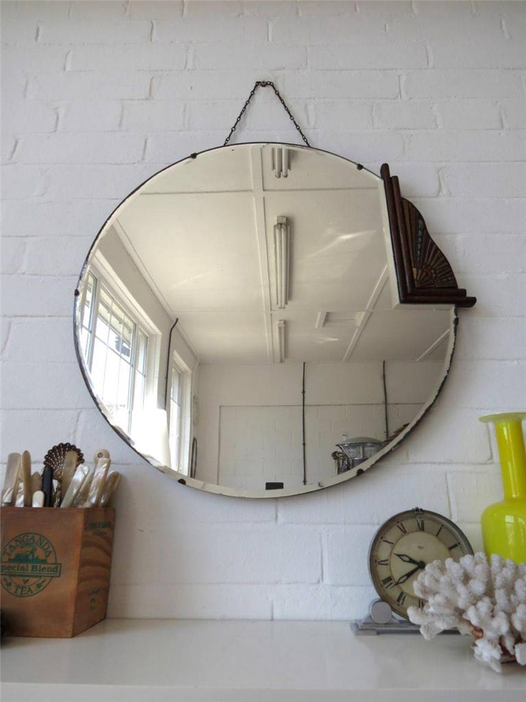 Vintage Extra Large Round Art Deco Bevelled Edge Wall