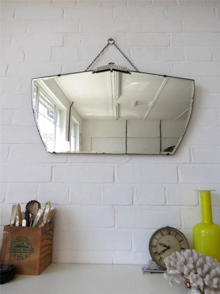 Vintage art deco wall mirror with chrome details