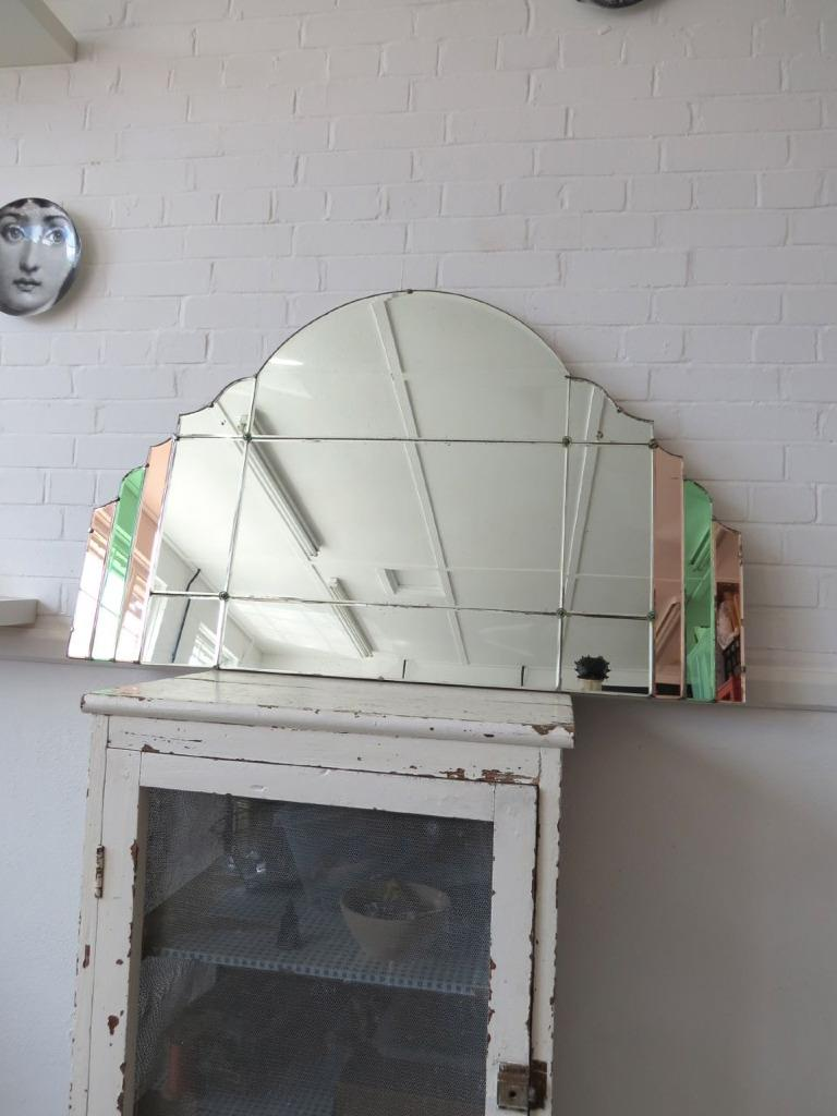 Vintage Extra Large Art Deco Bevelled Edge Wall Mirror