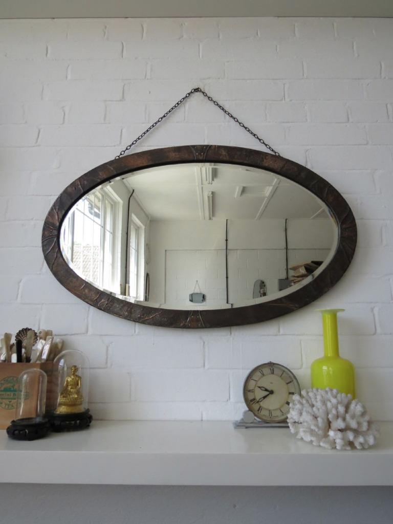 Vintage Extra Large Oval Art Deco Bevelled Edge Wall