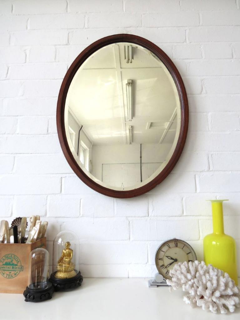 Vintage Large Oval Art Deco Bevelled Edge Wall Mirror with ...