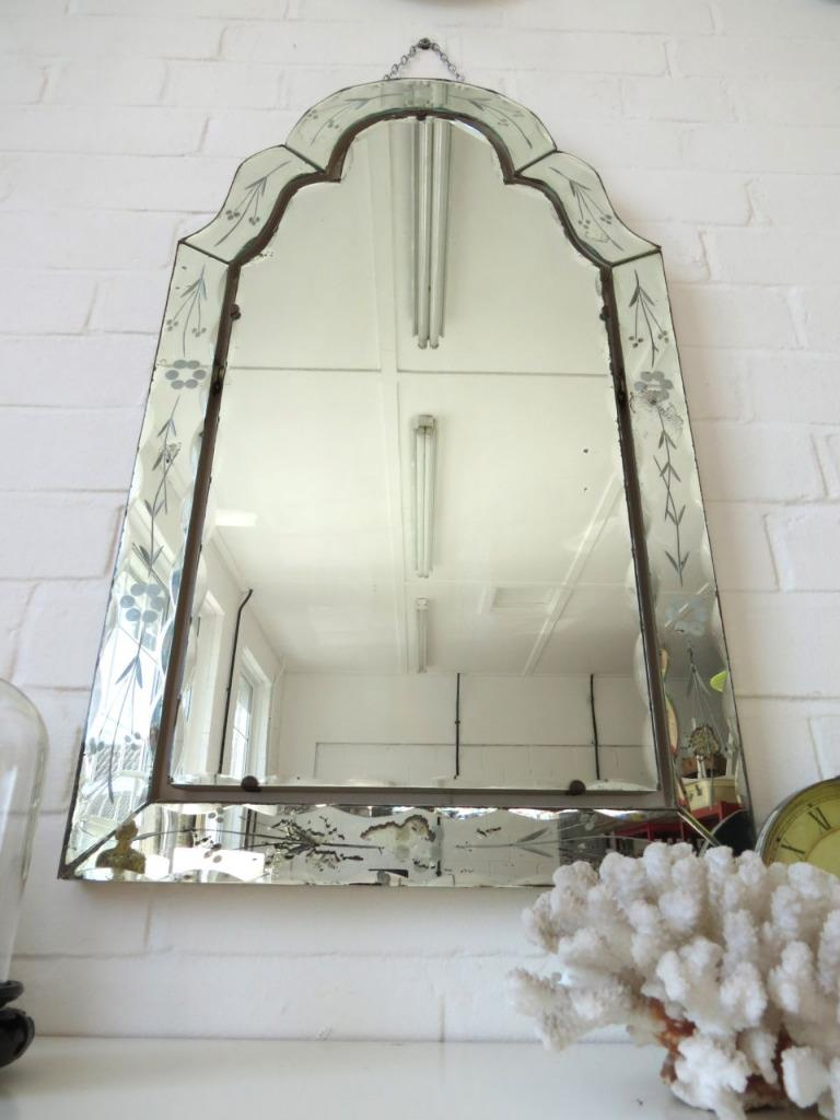 Vintage Art Deco Wall Mirror With Bevelled Edge Engraved