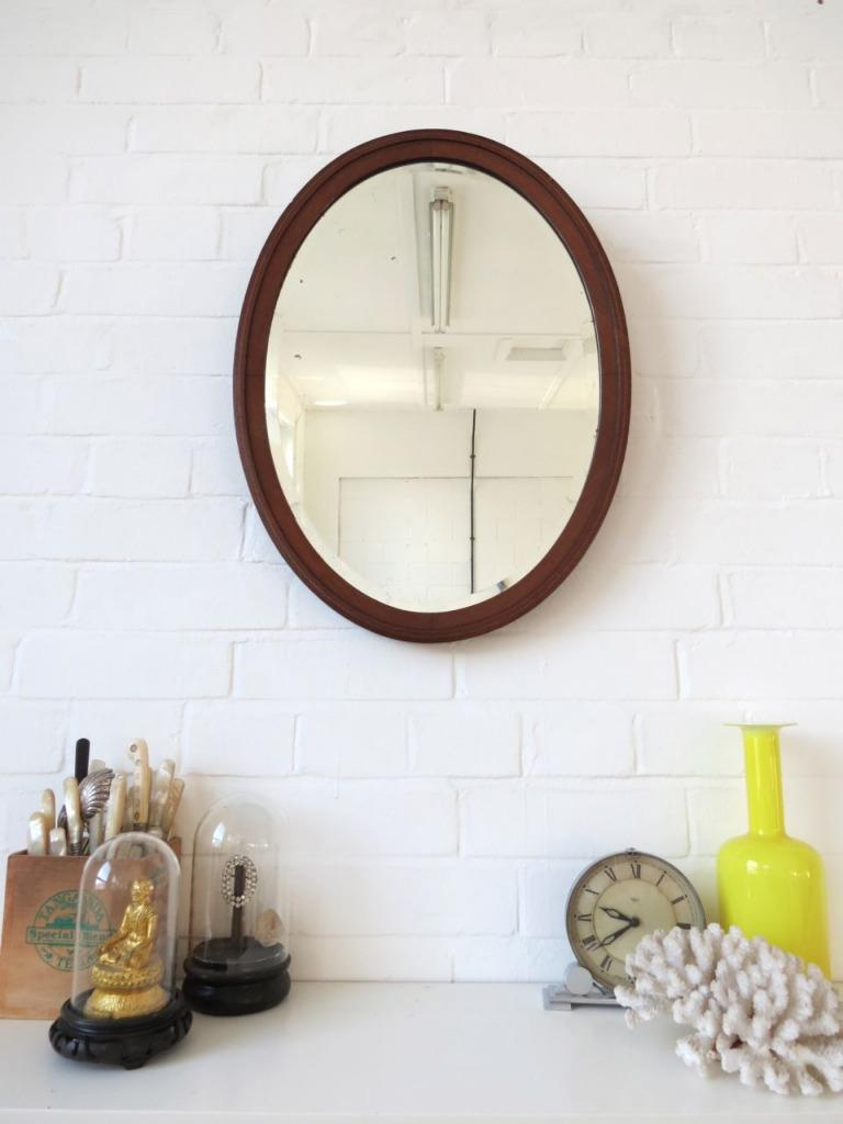 Vintage Oval Art Deco Bevelled Edge Wall Mirror With