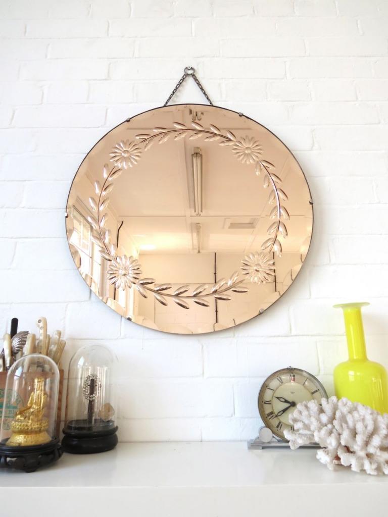 Vintage Large Round Art Deco Bevelled Edge Wall Mirror
