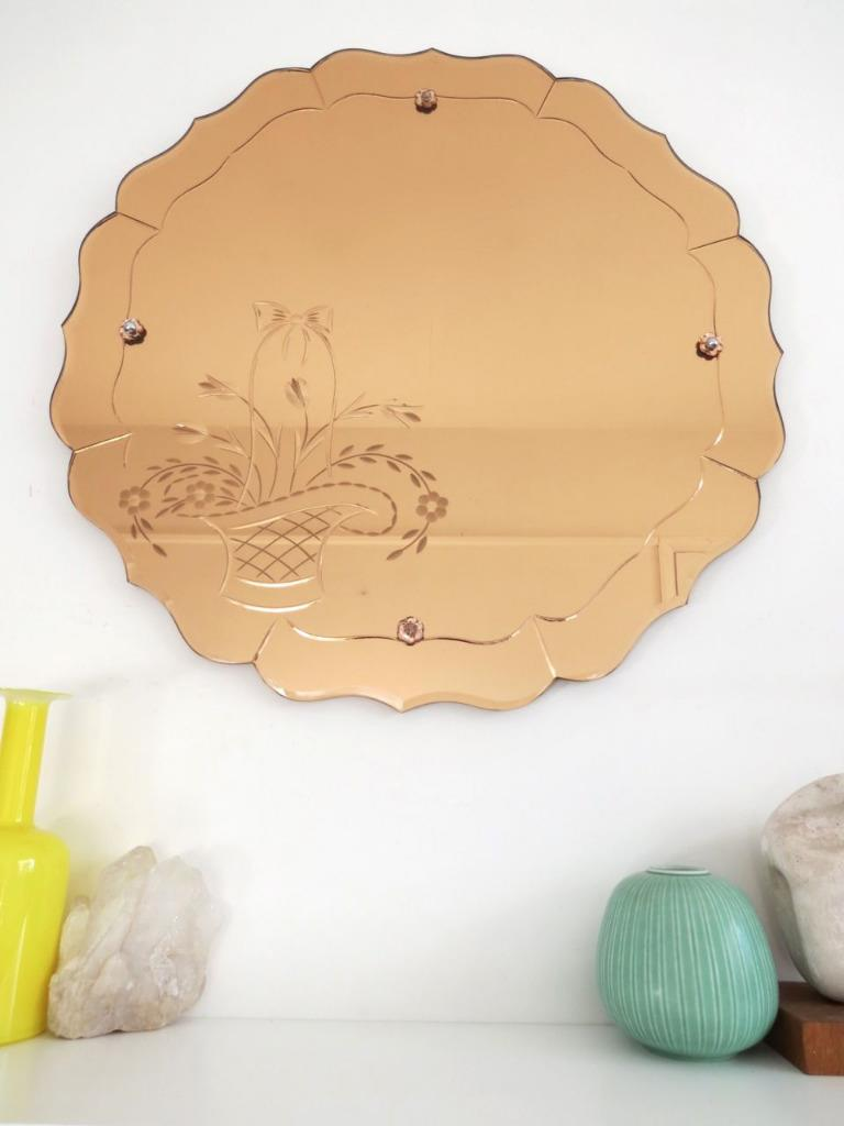 Vintage Art Deco Round Wall Mirror Extra Large Colored