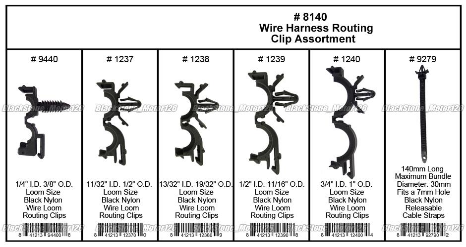 54 pc wiring harness wire loom routing clip assortment. Black Bedroom Furniture Sets. Home Design Ideas