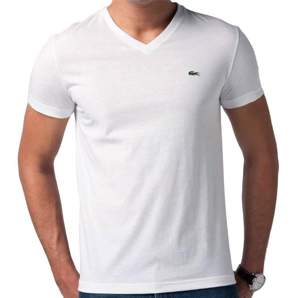 nwt lacoste mens premium athletic cotton v neck tee t shirt white. Black Bedroom Furniture Sets. Home Design Ideas