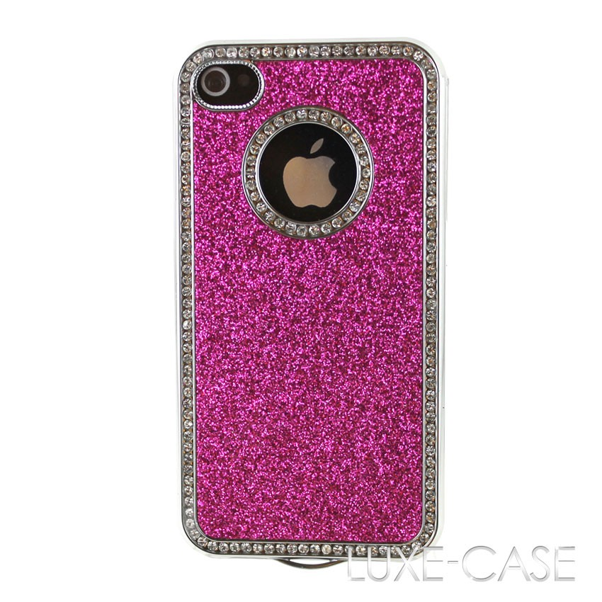 glitter iphone case luxury pink fuchsia glitter sparkle rhinestone bling 10701