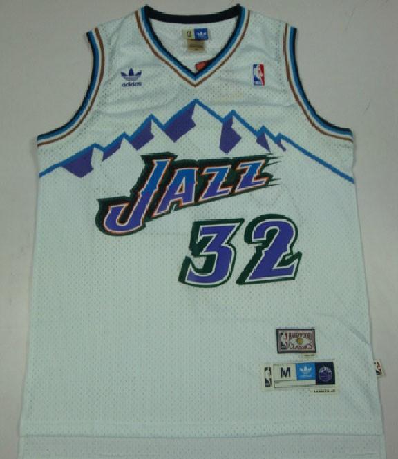 f6ef7484b Utah Jazz Karl Malone Throwback White Home Swingman Soul Jersey on ...