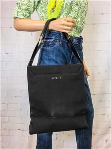 92ec4ffaa7a  875 GUCCI Black Tote Nylon Bag Canvas Leather North South Tall ...