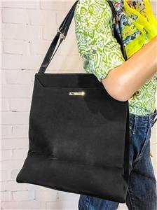 ab140c3539e  875 GUCCI Black Tote Nylon Bag Canvas Leather North South Tall ...