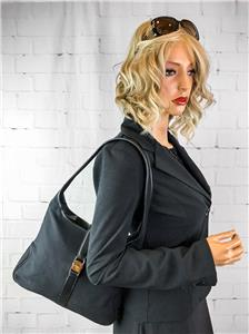 7511d25312b  850 SALVATORE FERRAGAMO Black Canvas Hobo Shoulder Bag Leather ...