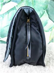 1480 PRADA Etiquette Black Blue Nylon Leather Flap Messenger ... 39360a50c8