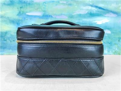 ad0f83c881be $750 CHANEL Black Quilted Leather Top Handle Gold Cosmetic Case Zip Around  SALE!