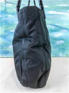 ca790f68fd9  845 PRADA Black Nylon Tote Handbag Double Lucite Handles Side Logo SALE!  EUC