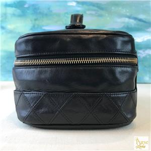 a611f42cf521 $750 CHANEL Black Leather Cosmetic Case Bag Quilted Zip Around Gold ...