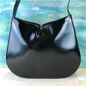 fc46b64989  1150 SALVATORE FERRAGAMO Gancini Black Patent Leather Shoulder Bag ...