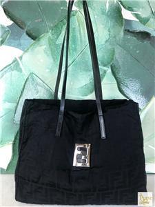 f7f05dd411  780 FENDI Black Zucca Canvas Tote Shoulder Bag FF Logo Leather Silver HW  SALE!