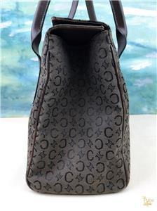 a4c654f3f827 CELINE Dark Brown Macadam Canvas Satchel Tote Bag Leather Trim Flap Gold  SALE!