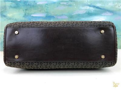 d47bb888c991 CELINE Dark Brown Macadam Canvas Satchel Tote Bag Leather Trim Flap ...