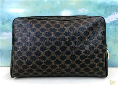 95d2101f0779  795 CELINE Black Brown Macadam Printed Coated Canvas Cosmetic Pouch ...