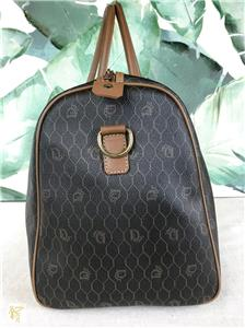 995 CHRISTIAN DIOR Brown Monogram Logo Canvas Leather Large Travel Duffle  Bag 8c37917577fac