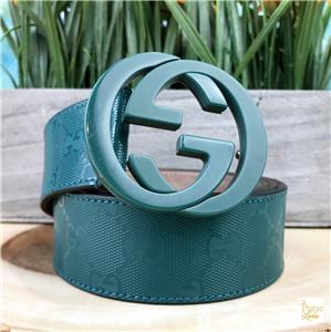 fe88549d25c  430 GUCCI Green Monogram GG Web Coated Canvas Large Logo Buckle Belt SZ 100  40