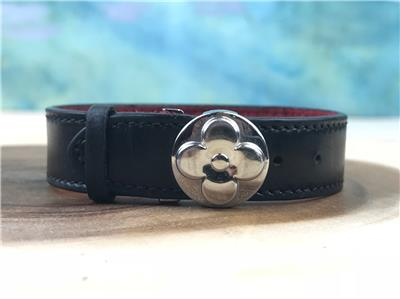 3ec446ddb6ee  325 LOUIS VUITTON Wish Black Monogram Embossed Leather Bracelet Clip SALE!