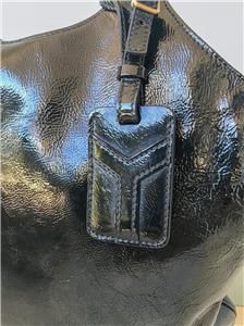 965 YSL YVES SAINT LAURENT Black Patent Leather Tribute Tote Bag ... df069baca8762